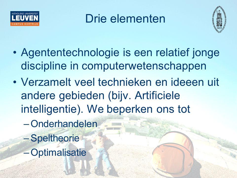 Drie elementen Agententechnologie is een relatief jonge discipline in computerwetenschappen.