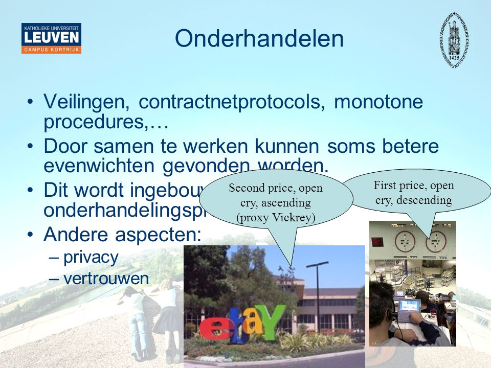 Onderhandelen Veilingen, contractnetprotocols, monotone procedures,…