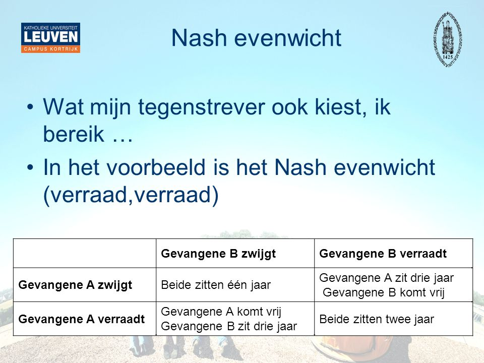 Nash evenwicht Wat mijn tegenstrever ook kiest, ik bereik …