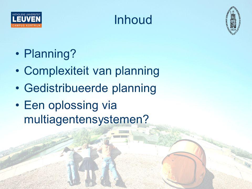 Inhoud Planning Complexiteit van planning Gedistribueerde planning