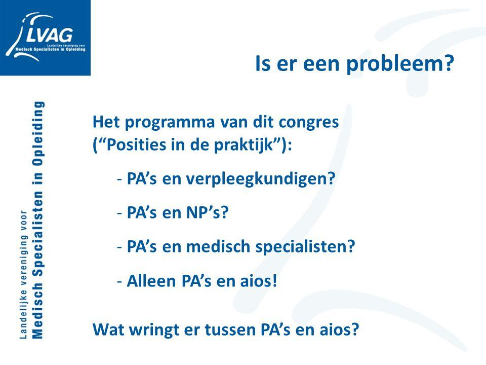 Is er een probleem Het programma van dit congres ( Posities in de praktijk ): PA's en verpleegkundigen