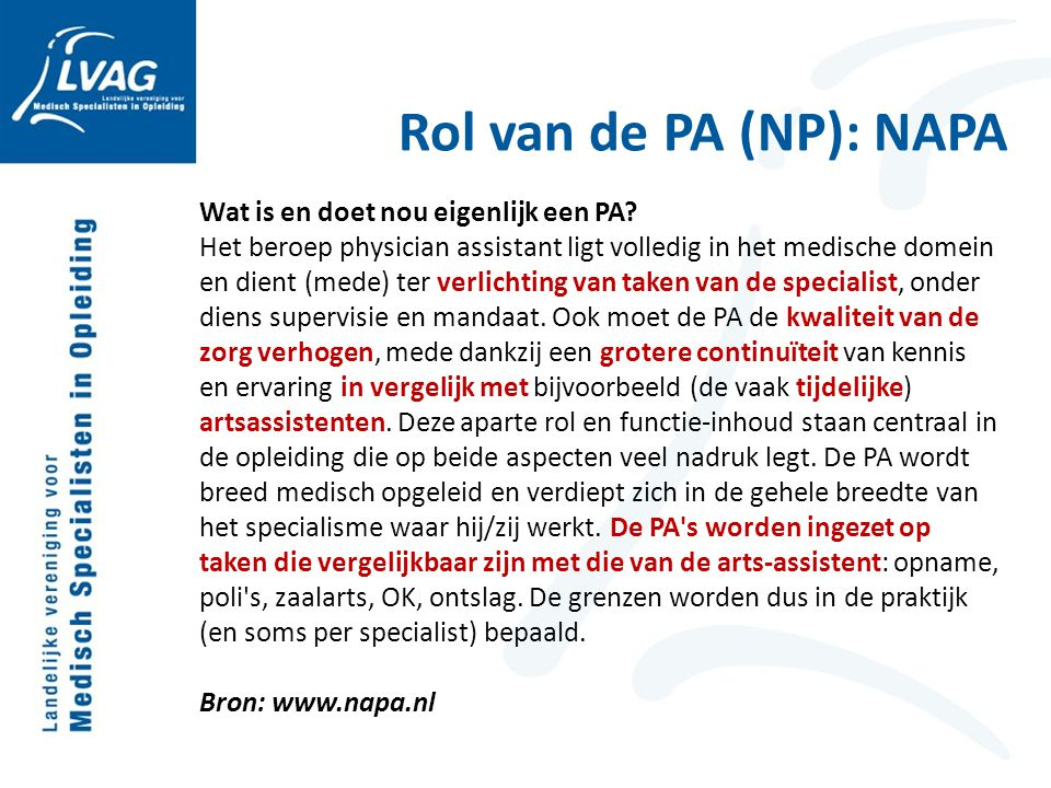 Rol van de PA (NP): NAPA