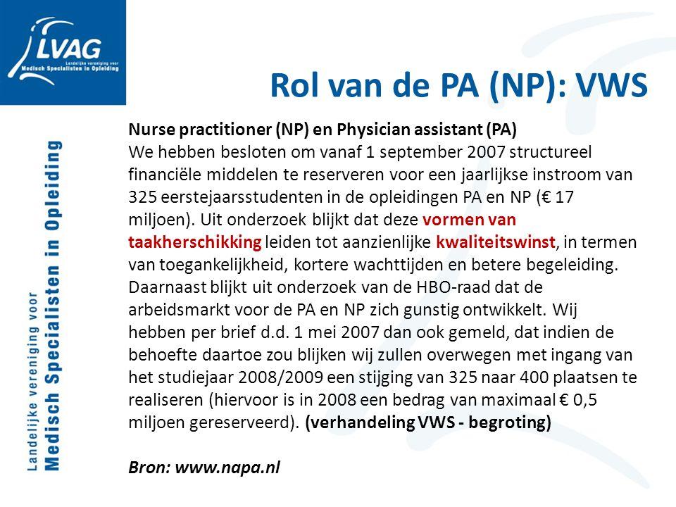 Rol van de PA (NP): VWS