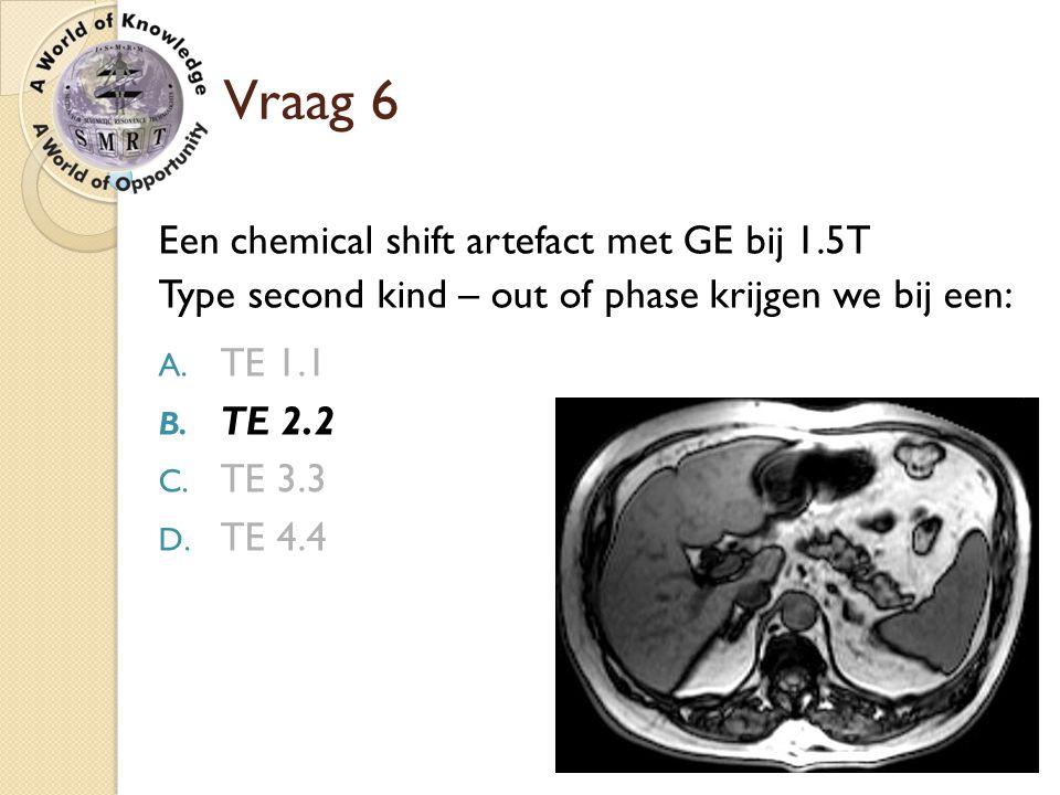 Vraag 6 Een chemical shift artefact met GE bij 1.5T