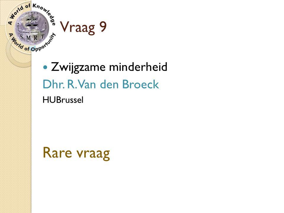 Rare vraag Vraag 9 Zwijgzame minderheid Dhr. R. Van den Broeck
