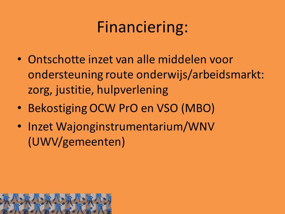Financiering: Ontschotte inzet van alle middelen voor ondersteuning route onderwijs/arbeidsmarkt: zorg, justitie, hulpverlening.