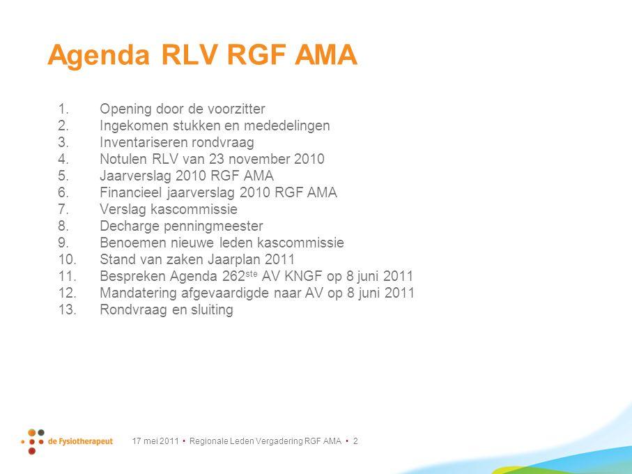 Agenda RLV RGF AMA Opening door de voorzitter