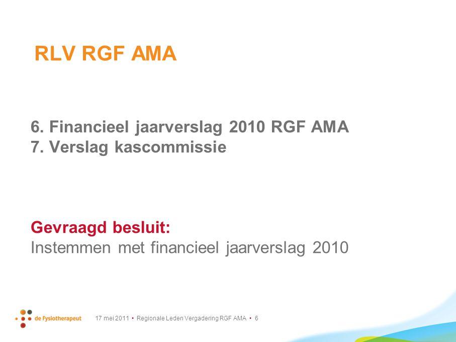 RLV RGF AMA 6. Financieel jaarverslag 2010 RGF AMA