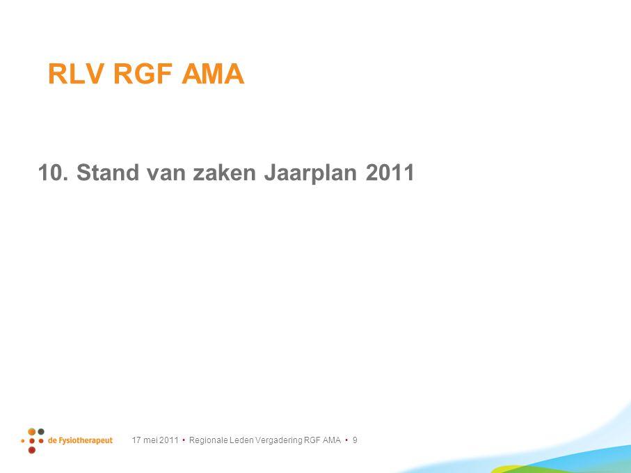 RLV RGF AMA 10. Stand van zaken Jaarplan 2011
