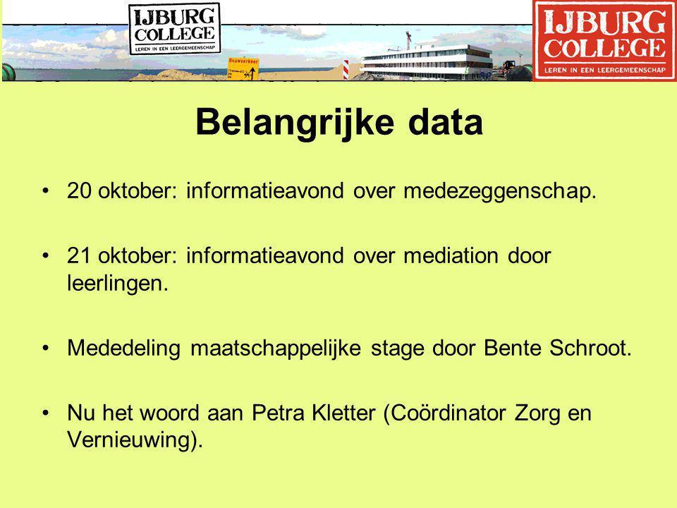 Belangrijke data 20 oktober: informatieavond over medezeggenschap.