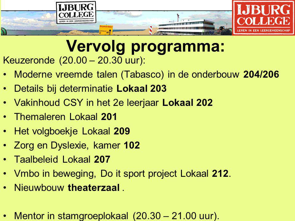Vervolg programma: Keuzeronde (20.00 – 20.30 uur):