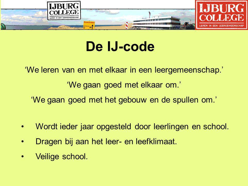 De IJ-code 'We leren van en met elkaar in een leergemeenschap.'