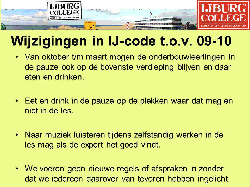 Wijzigingen in IJ-code t.o.v. 09-10