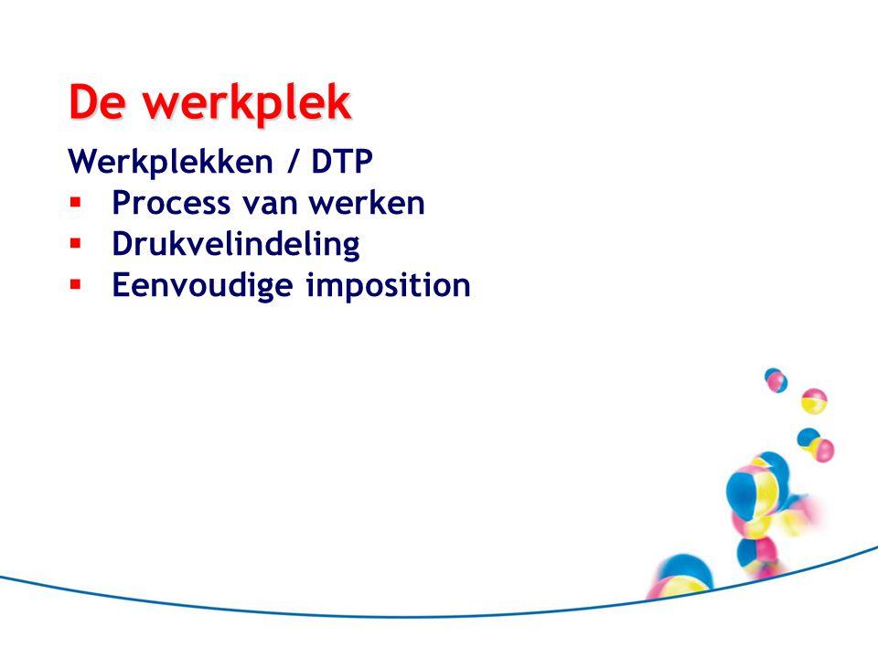 De werkplek Werkplekken / DTP Process van werken Drukvelindeling