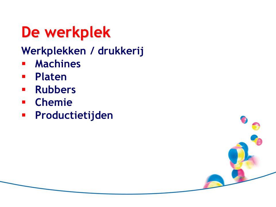 De werkplek Werkplekken / drukkerij Machines Platen Rubbers Chemie
