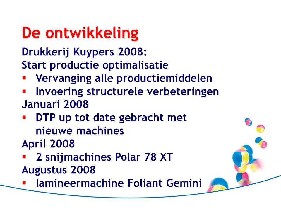 De ontwikkeling Drukkerij Kuypers 2008: Start productie optimalisatie