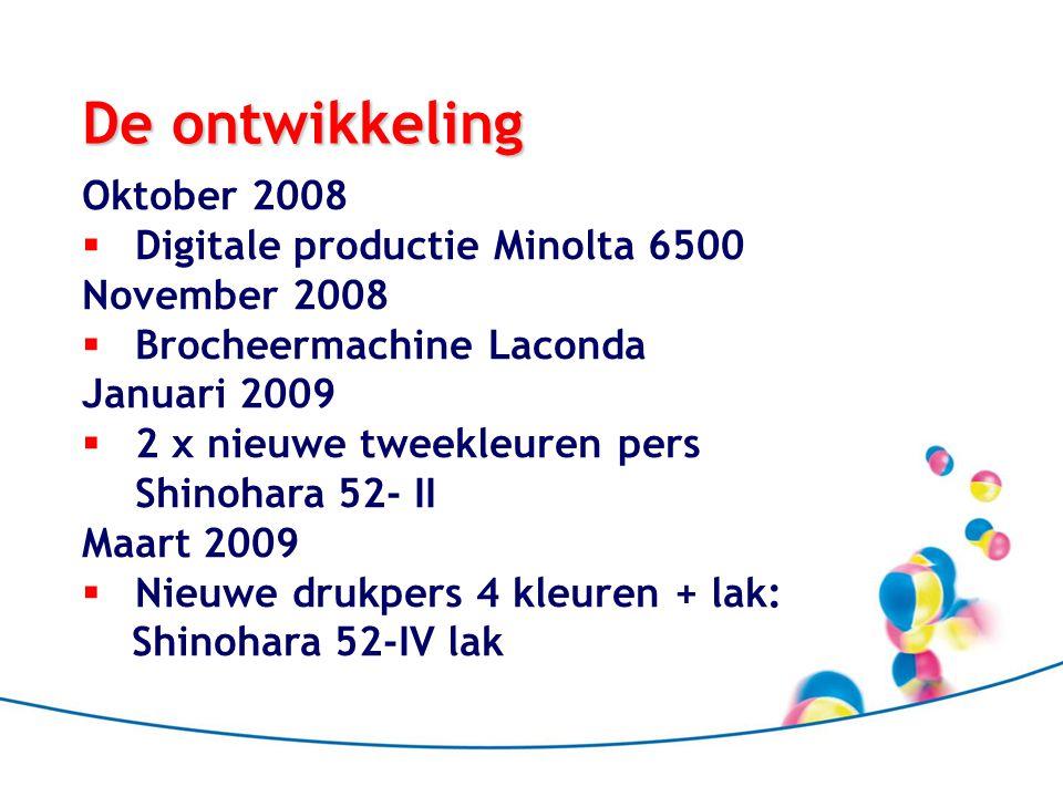 De ontwikkeling Oktober 2008 Digitale productie Minolta 6500