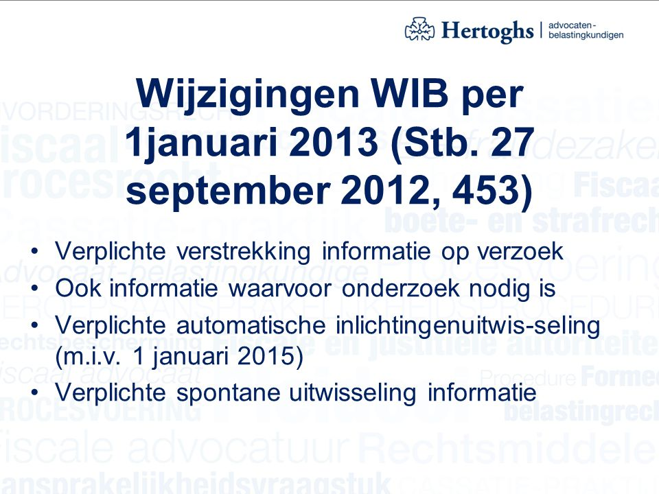 Wijzigingen WIB per 1januari 2013 (Stb. 27 september 2012, 453)