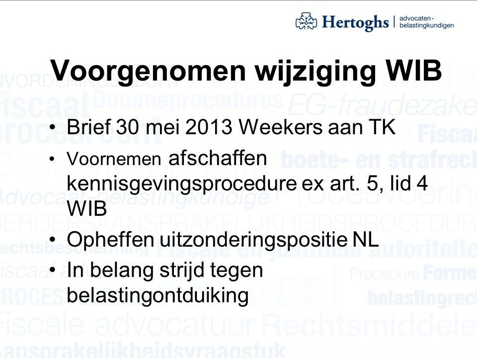 Voorgenomen wijziging WIB