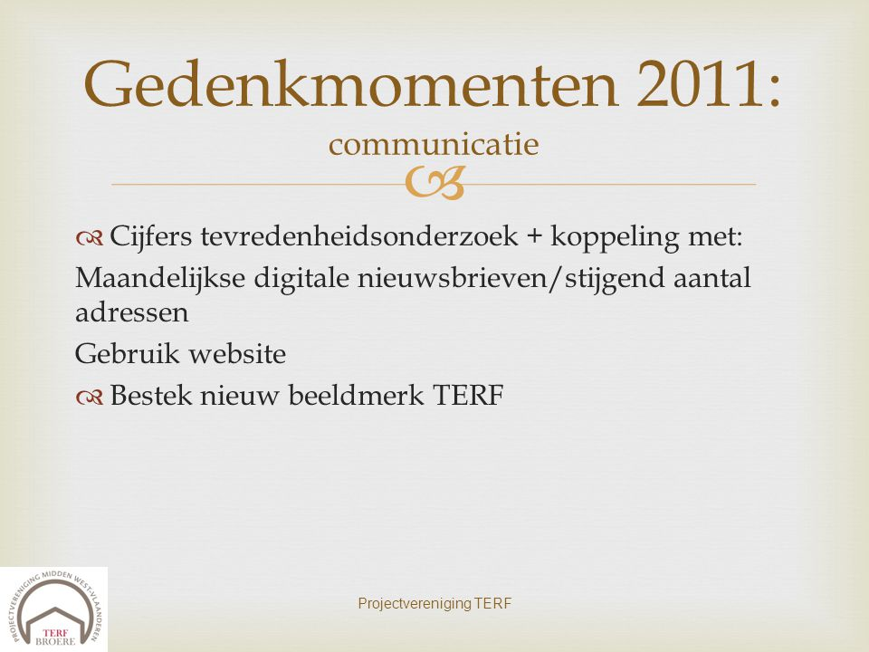 Gedenkmomenten 2011: communicatie