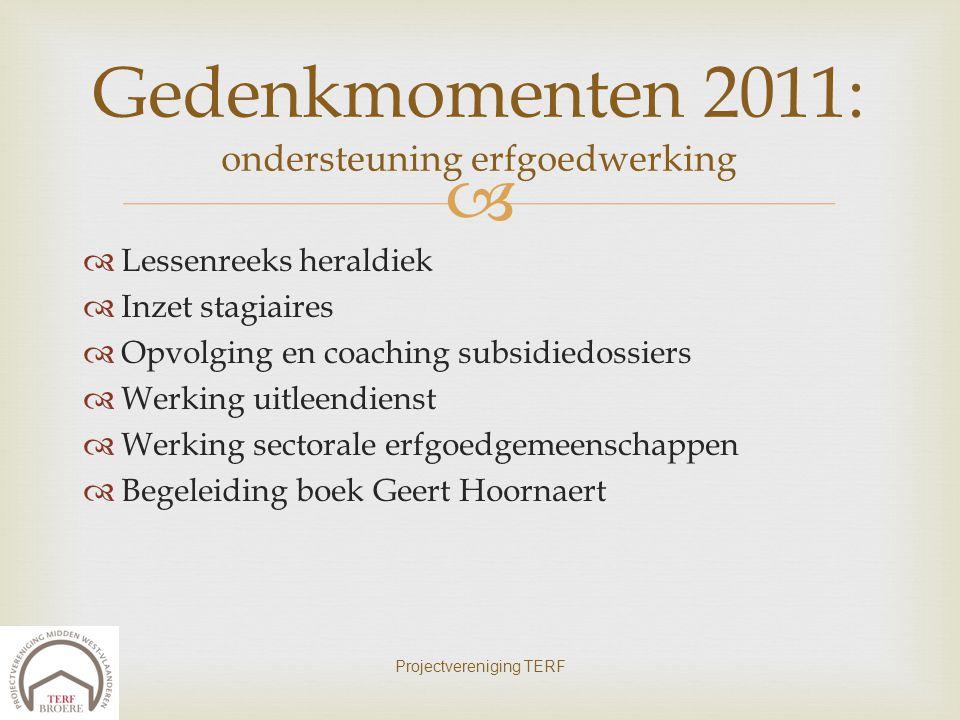 Gedenkmomenten 2011: ondersteuning erfgoedwerking