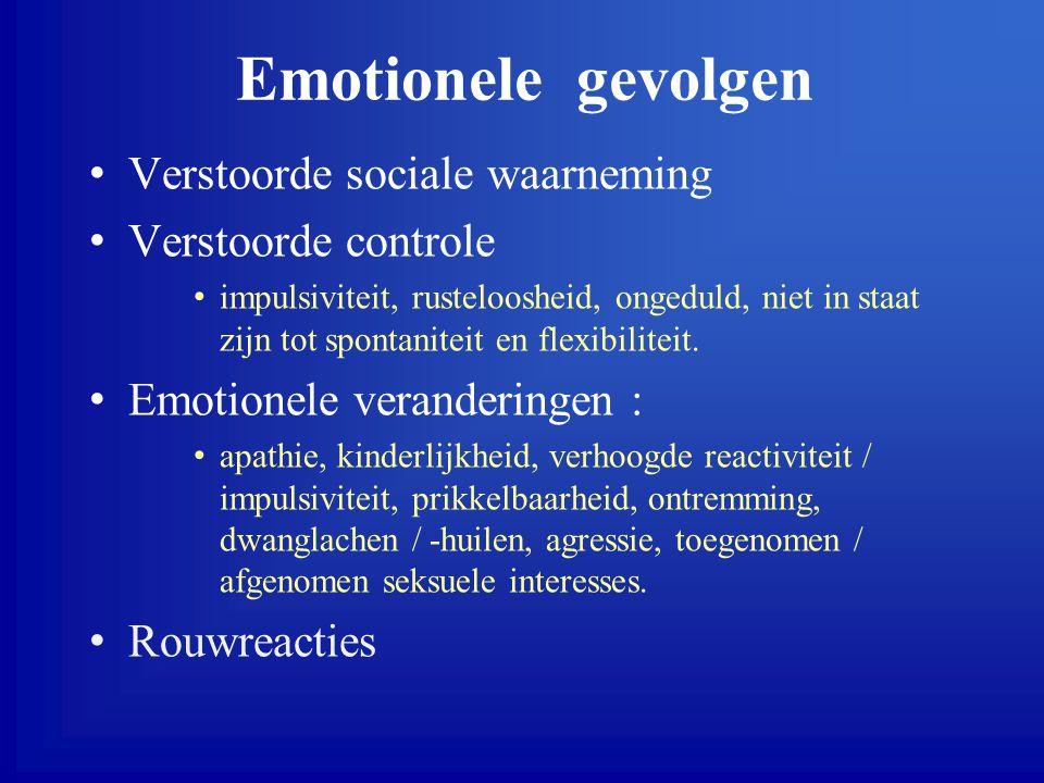Emotionele gevolgen Verstoorde sociale waarneming Verstoorde controle