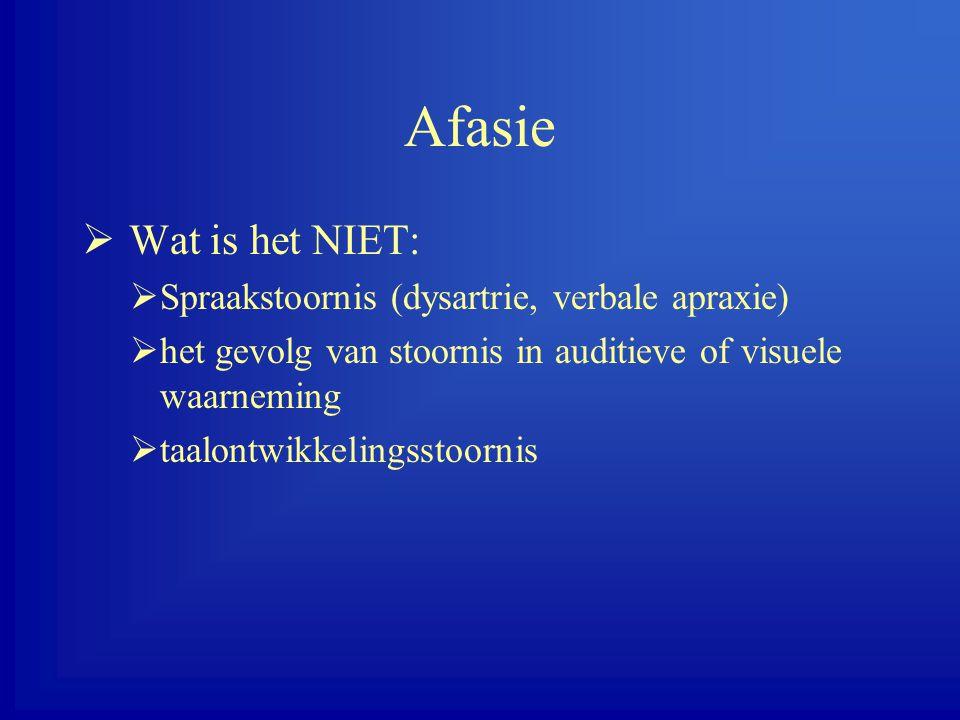 Afasie Wat is het NIET: Spraakstoornis (dysartrie, verbale apraxie)
