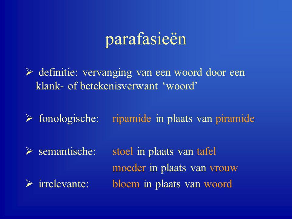 parafasieën definitie: vervanging van een woord door een klank- of betekenisverwant 'woord' fonologische: ripamide in plaats van piramide.