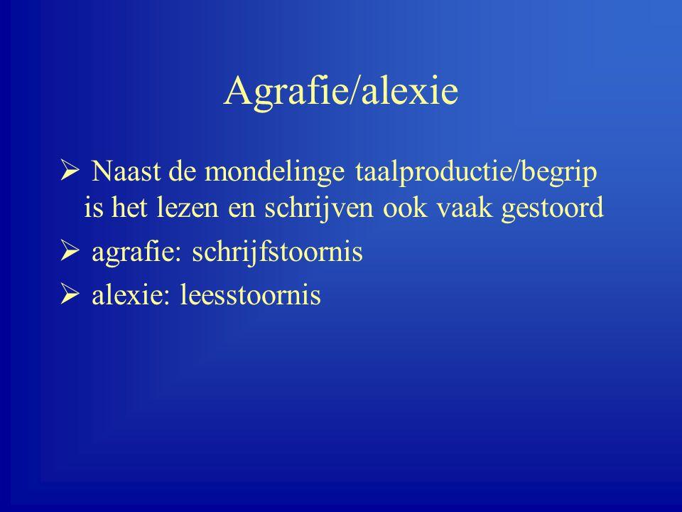 Agrafie/alexie Naast de mondelinge taalproductie/begrip is het lezen en schrijven ook vaak gestoord.