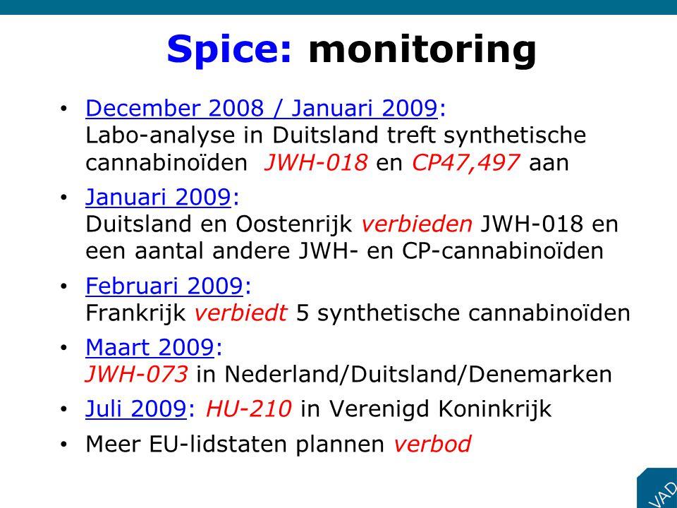 Spice: monitoring December 2008 / Januari 2009: Labo-analyse in Duitsland treft synthetische cannabinoïden JWH-018 en CP47,497 aan.