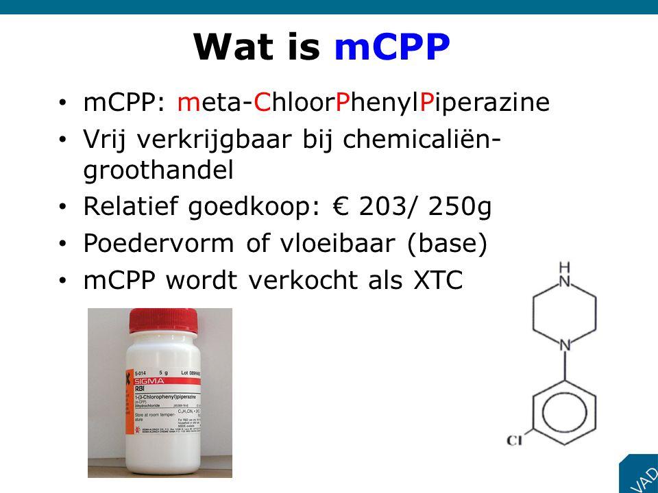 Wat is mCPP mCPP: meta-ChloorPhenylPiperazine