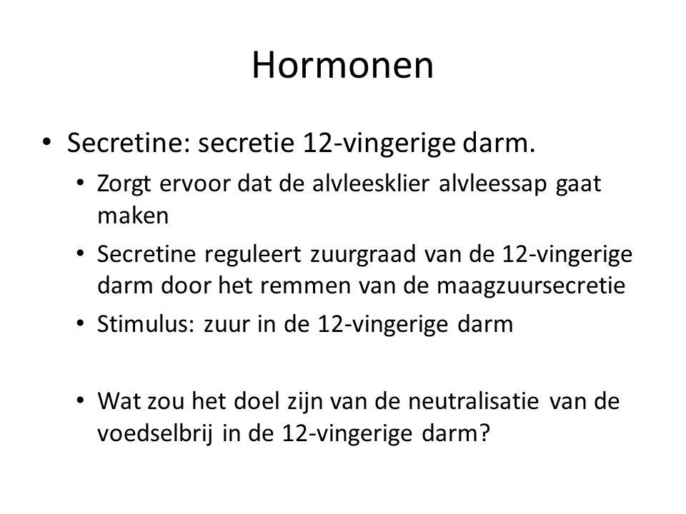 Hormonen Secretine: secretie 12-vingerige darm.