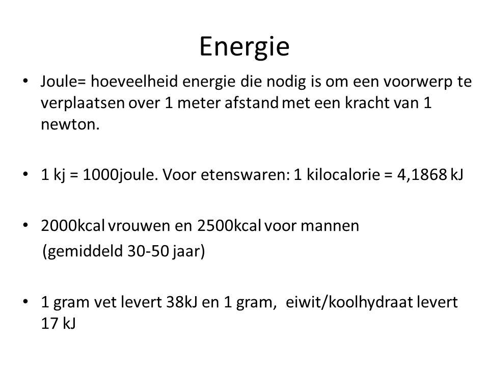 Energie Joule= hoeveelheid energie die nodig is om een voorwerp te verplaatsen over 1 meter afstand met een kracht van 1 newton.