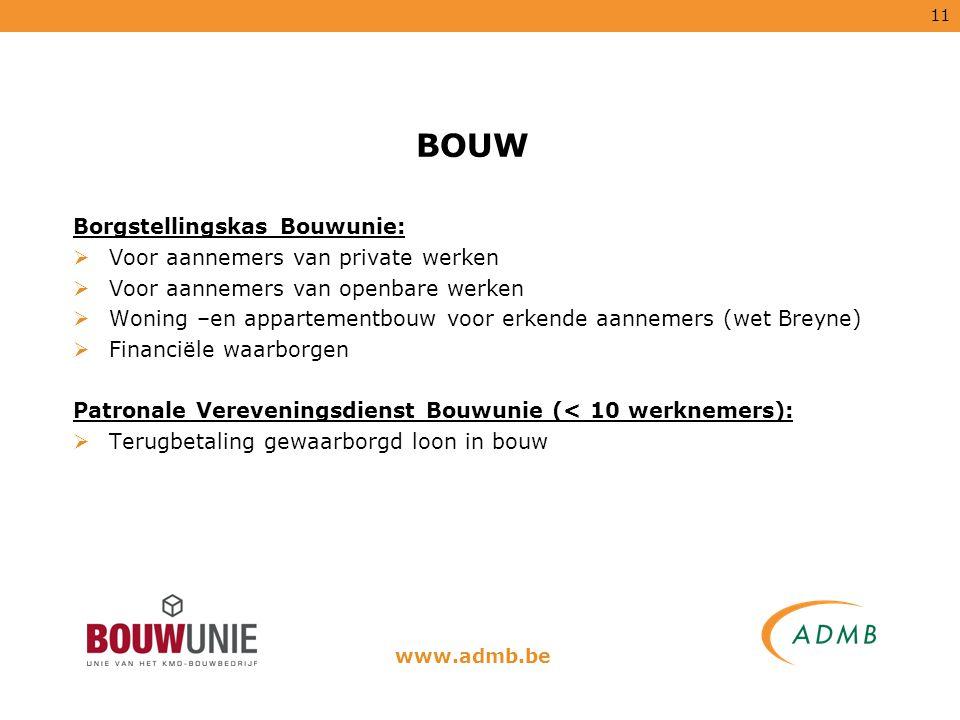 BOUW Borgstellingskas Bouwunie: Voor aannemers van private werken