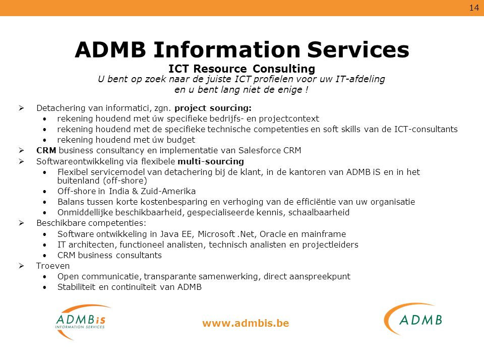 ADMB Information Services ICT Resource Consulting