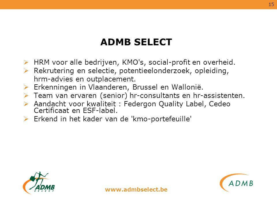 ADMB SELECT HRM voor alle bedrijven, KMO s, social-profit en overheid.