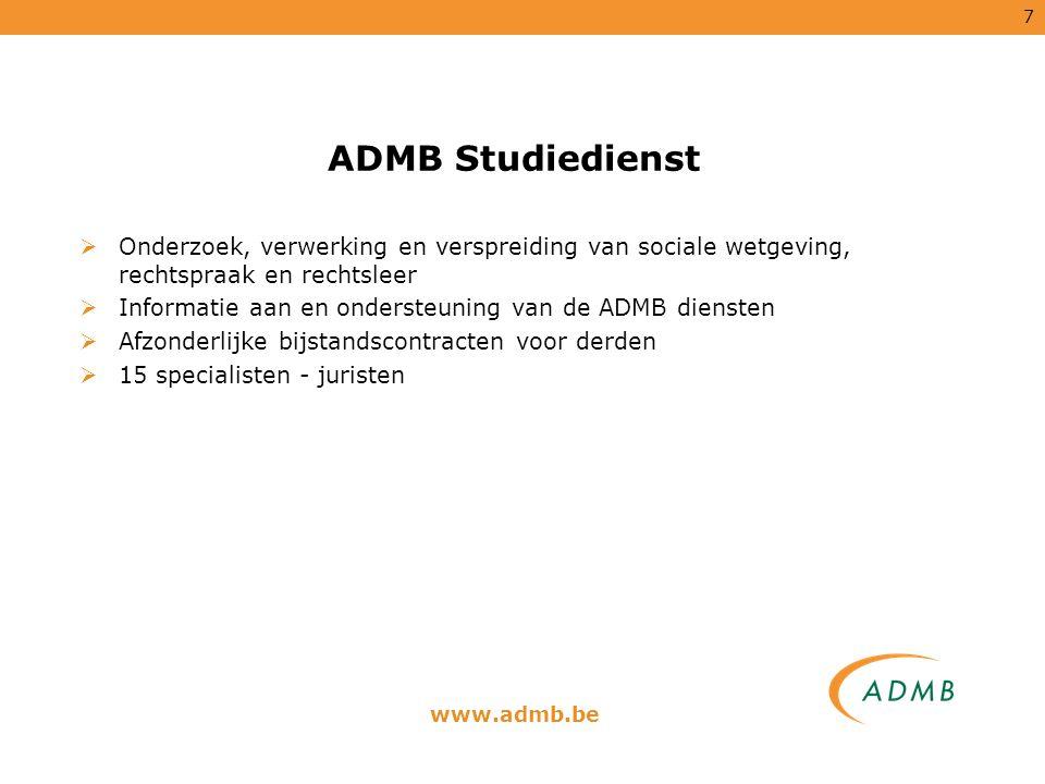 ADMB Studiedienst Onderzoek, verwerking en verspreiding van sociale wetgeving, rechtspraak en rechtsleer.