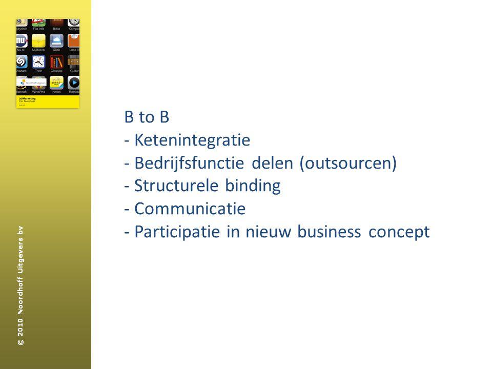 B to B - Ketenintegratie. - Bedrijfsfunctie delen (outsourcen) - Structurele binding. - Communicatie.