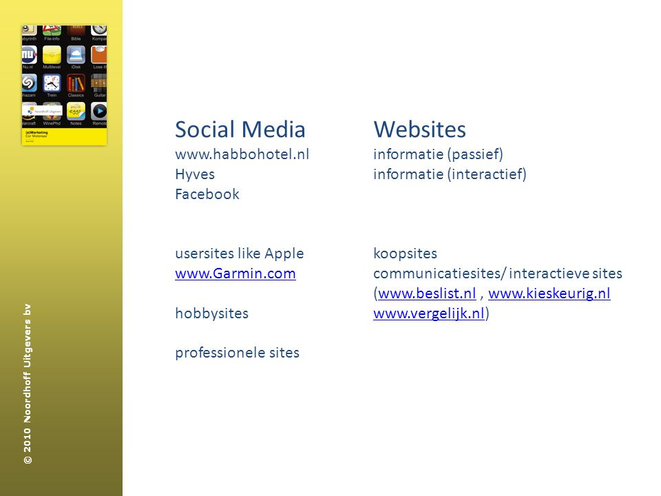 Social Media Websites www.habbohotel.nl Hyves Facebook