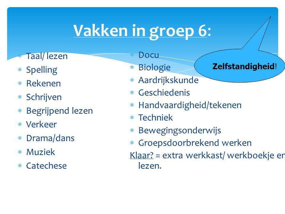 Vakken in groep 6: Taal/ lezen Spelling Rekenen Schrijven