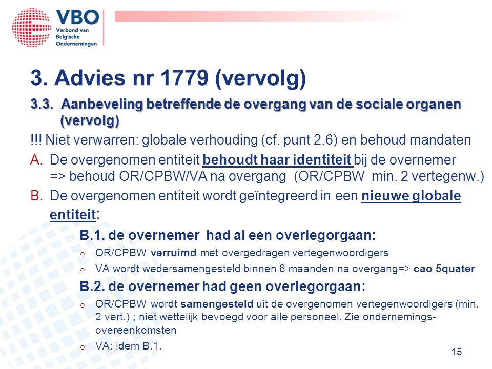 3. Advies nr 1779 (vervolg) 3.3. Aanbeveling betreffende de overgang van de sociale organen (vervolg)