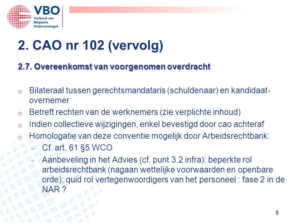2. CAO nr 102 (vervolg) 2.7. Overeenkomst van voorgenomen overdracht