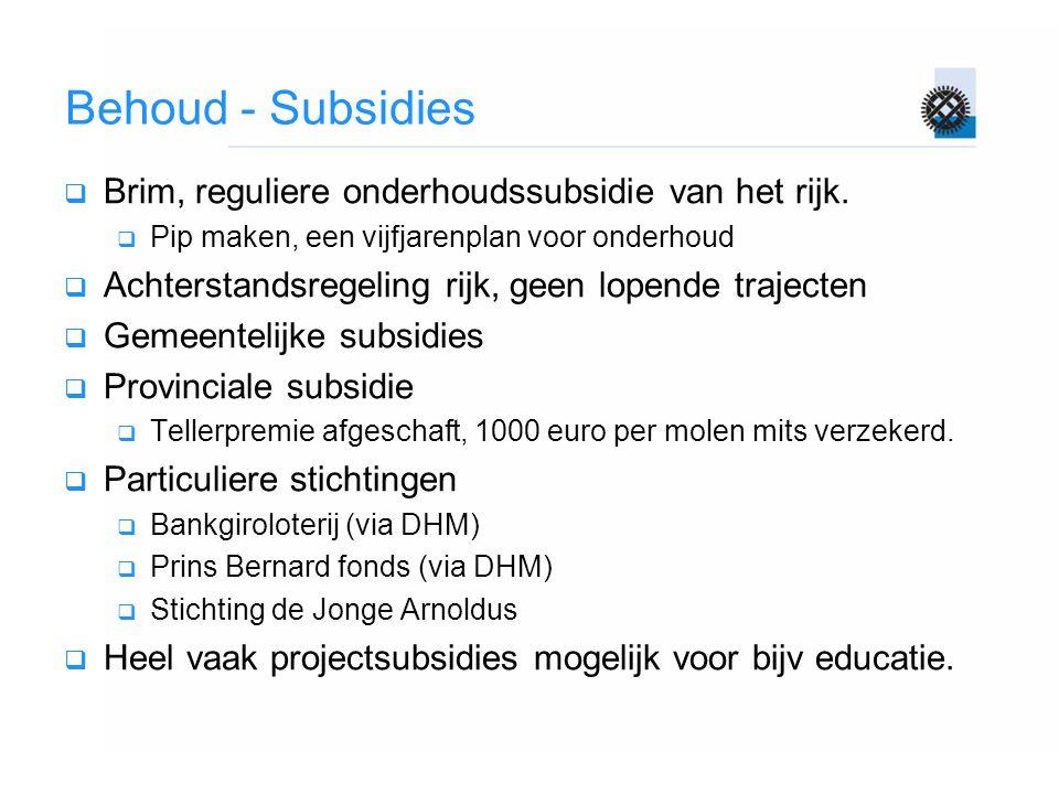 Behoud - Subsidies Brim, reguliere onderhoudssubsidie van het rijk.