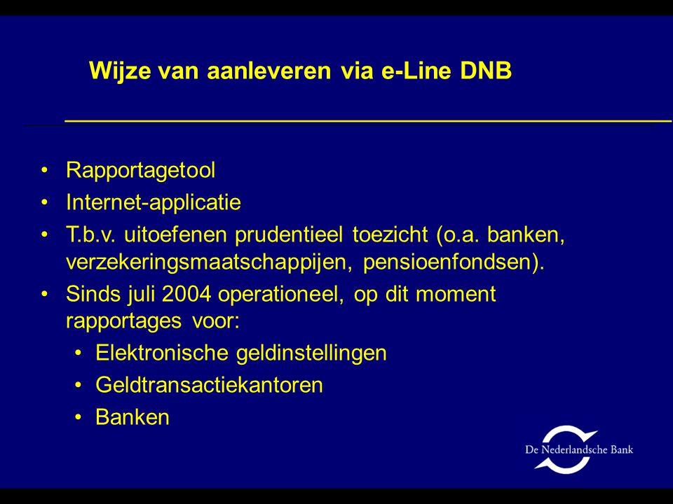 Wijze van aanleveren via e-Line DNB