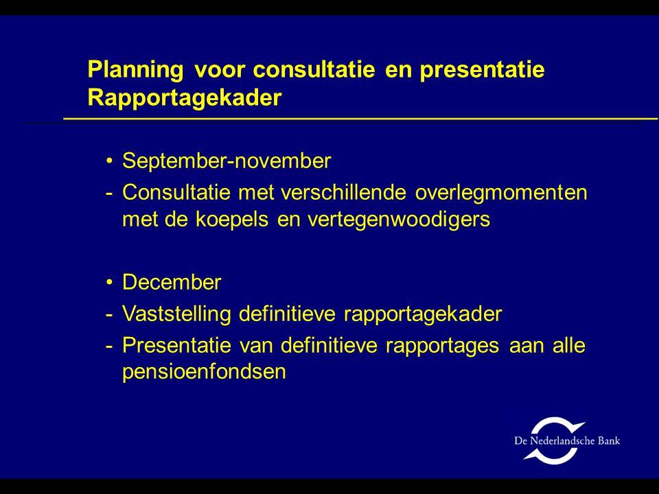 Planning voor consultatie en presentatie Rapportagekader