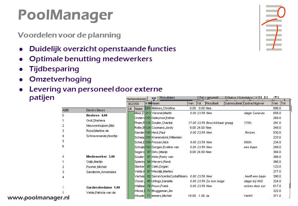 PoolManager Voordelen voor de planning