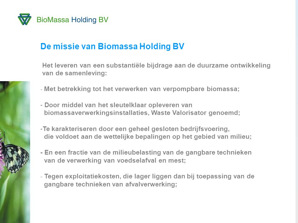 De missie van Biomassa Holding BV