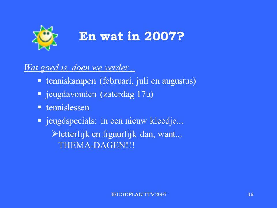 En wat in 2007 Wat goed is, doen we verder...