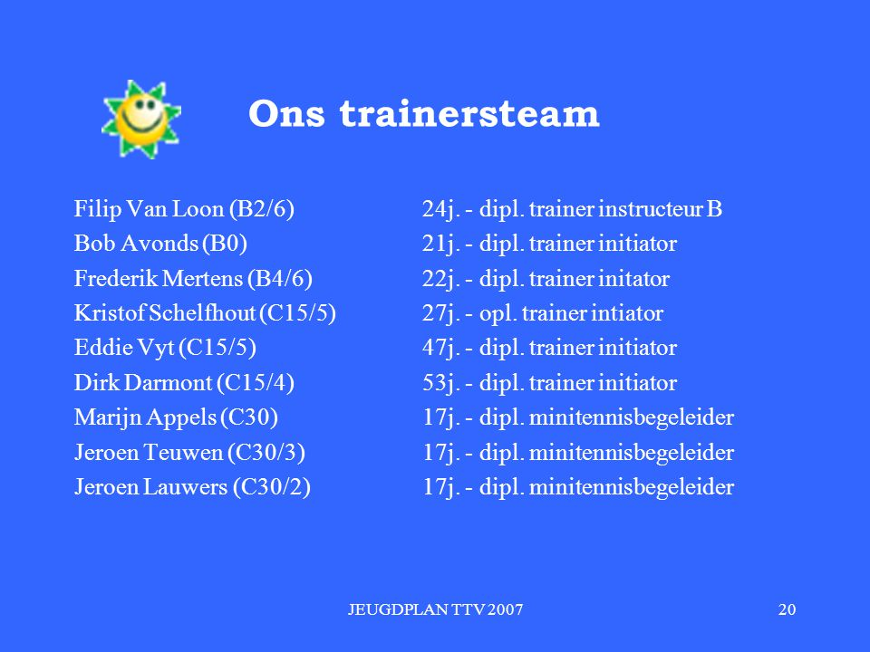 Ons trainersteam Filip Van Loon (B2/6) 24j. - dipl. trainer instructeur B. Bob Avonds (B0) 21j. - dipl. trainer initiator.