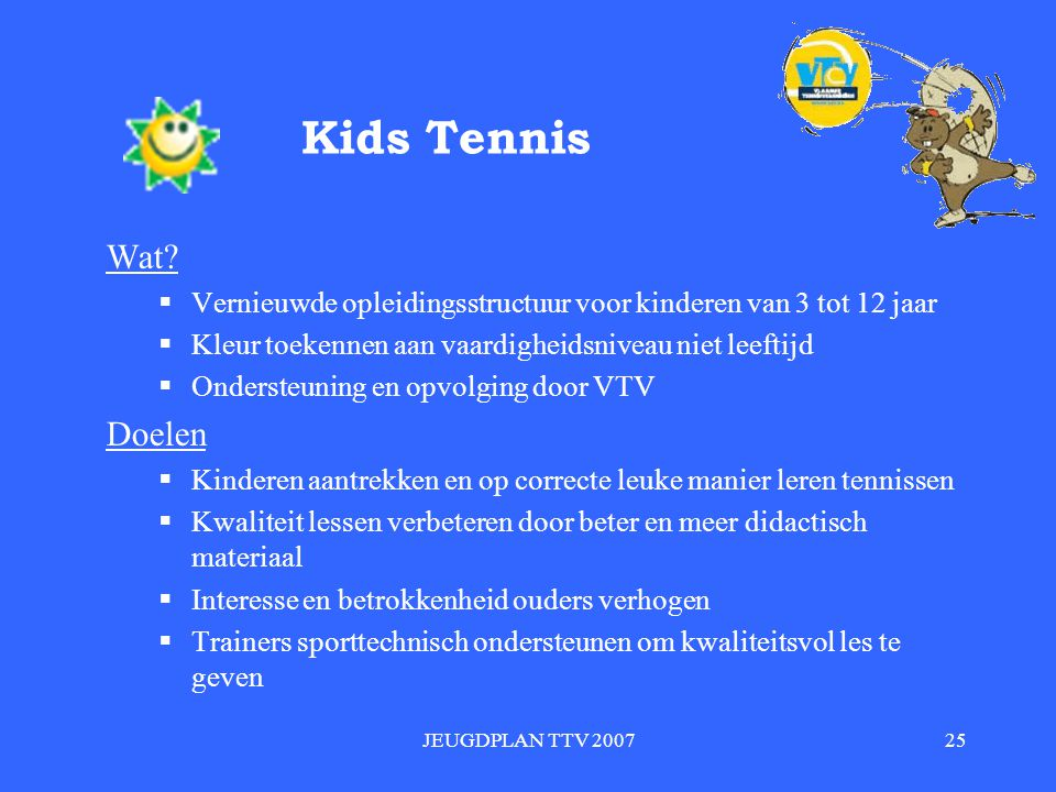 Kids Tennis Wat Vernieuwde opleidingsstructuur voor kinderen van 3 tot 12 jaar. Kleur toekennen aan vaardigheidsniveau niet leeftijd.